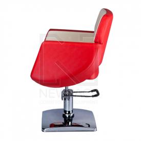 Fotel fryzjerski NICO czerwony-kremowy BD-1088 #5