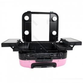 Kufer Kosmetyczny Glamour 9302-2 Różowy (Przenośne Stanowisko) #2