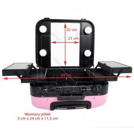 Kufer Kosmetyczny Glamour 9302-2 Różowy (Przenośne Stanowisko) #6