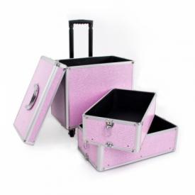 Kufer Kosmetyczny Glamour 9023 Różowy Crystal #3