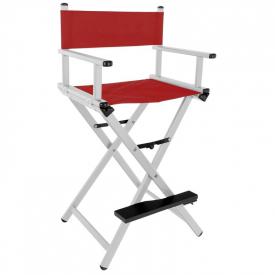 Krzesło Do Makijażu Glamour Aluminiowe Srebrne Z Czerwonym Materiałem