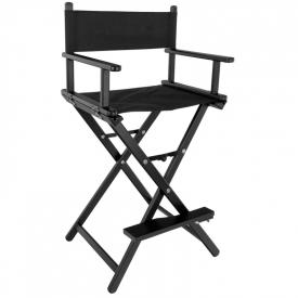 Krzesło Do Makijażu Glamour Aluminiowe Czarne Z Czarnym Materiałem