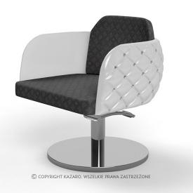 Fotel Fryzjerski Diamante, Biało-Czarny