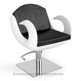 Fotel Fryzjerski Fiore, Biało-Czarny, wzór krokodyla skóra