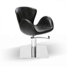 Fotel Fryzjerski Aqua, Czarny, wzór krokodyla skóra, Podstawa Kwadrat