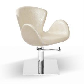 Fotel Fryzjerski Aqua, Perłowy, Podstawa Kwadrat