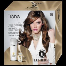 Tahe Zestaw Do Włosów Farbowanych I Cienkich (Szampon 250 Ml + Ampułki 5x10 Ml) Lumiere Color Care