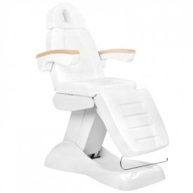 Fotel Kosmetyczny Elektr. Lux Biały / Buk 3m