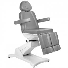 Fotel Kosmetyczny Elektr. Azzurro 869AS Pedi Obrotowy 5 Siln. Szary