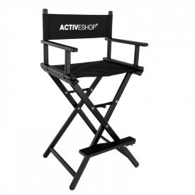 Krzesło Do Makijażu Glamour Aluminiowe Czarne Z Logo