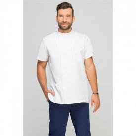 Bluza Medyczna Męska Z Boczną Stójką Biała, Rozmiar M