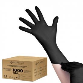 All4med Jednorazowe Rękawice Diagnostyczne Nitrylowe Czarne S 10 X100szt