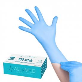 All4med Jednorazowe Rękawice Diagnostyczne Nitrylowe Niebieskie Xs