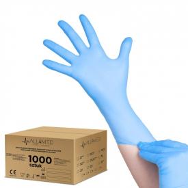 All4med Jednorazowe Rękawice Diagnostyczne Nitrylowe Niebieskie S 10 X100szt