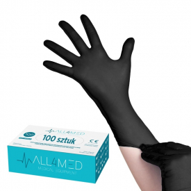 All4med Jednorazowe Rękawice Diagnostyczne Nitrylowe Czarne Xs