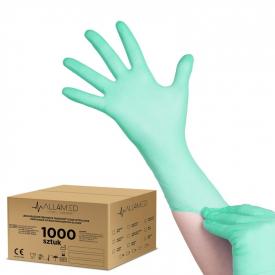 All4med Jednorazowe Rękawice Diagnostyczne Nitrylowe Zielone L 10 X100szt