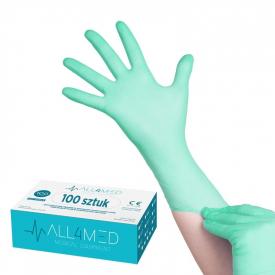 All4med Jednorazowe Rękawice Diagnostyczne Nitrylowe Zielone L
