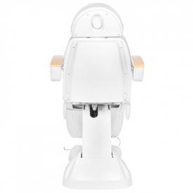 Fotel Kosmetyczny Elektryczny Lux Biały / Buk #11