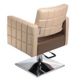 Fotel Fryzjerski Ernesto Brązowo-Kremowy BM-6302 #3