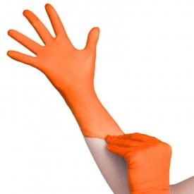 Jednorazowe Rękawiczki Pomarańczowe Nitrylowe S