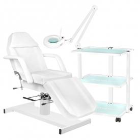 Fotel Kosmetyczny Hydrauliczny A210 + Stolik Kosmetyczny 1040 + Lampa Lupa Led S5
