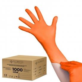 All4med jednorazowe rękawice diagnostyczne nitrylowe pomarańczowe l 10 x 100szt