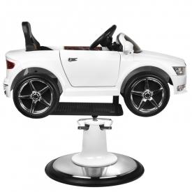 Fotel Fryzjerski Dziecięcy Samochodzik Audi B083 Biały #3