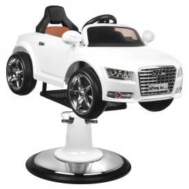 Fotel Fryzjerski Dziecięcy Samochodzik Audi B083 Biały #4