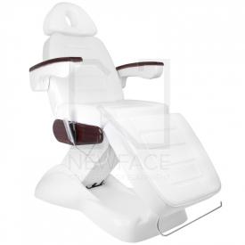 Fotel Kosmetyczny Elektryczny Lux Biały / Mahoń