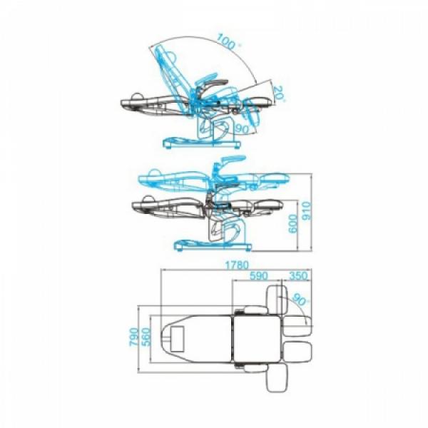 Fotel Podologiczny Elektryczny Azzurro 709A Biały #5
