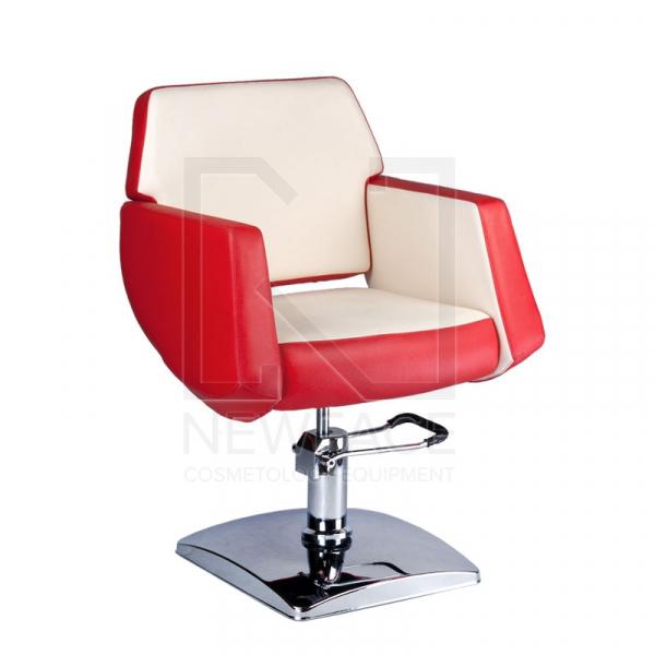 Fotel fryzjerski NICO czerwony-kremowy BD-1088 #1