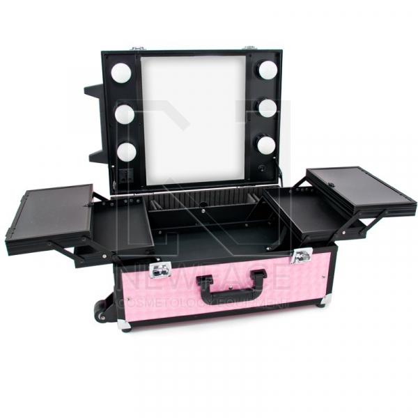 Kufer Kosmetyczny Glamour 9552 Różowy Cube (Przenośne Stanowisko) #1