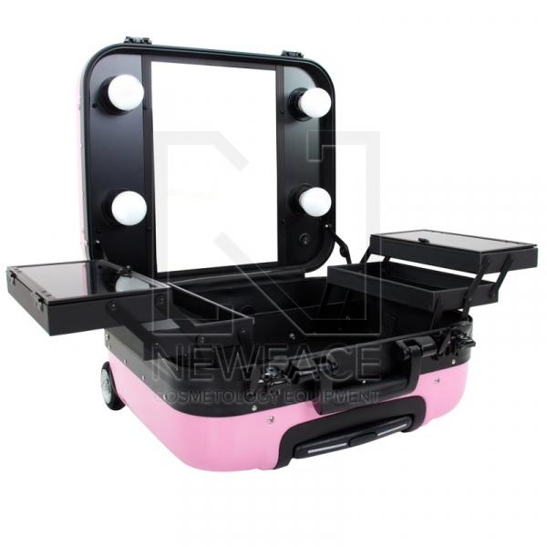 Kufer Kosmetyczny Glamour 9302-2 Różowy (Przenośne Stanowisko) #1