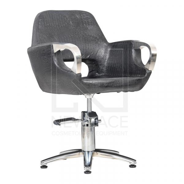 Fotel Fryzjerski Mediolan Steel Czarny Krokodyl Mat #1