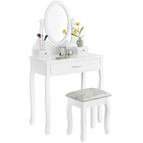 Toaletka Biała Lena Lustro 3 Szuflady + Taboret #1