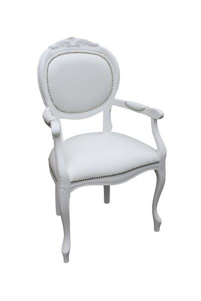 Krzesło Ludwik Biały Bez Obitych Podłokietników #1