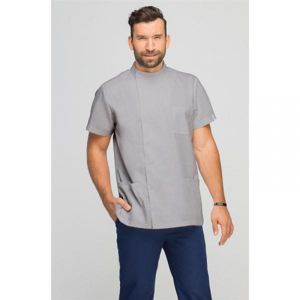Bluza Medyczna Męska Z Boczną Stójką Szara, Rozmiar M #1