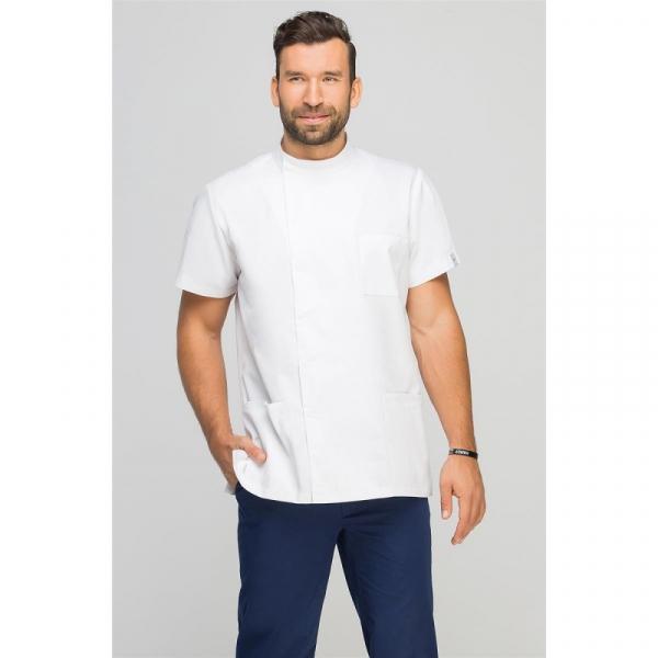 Bluza Medyczna Męska Z Boczną Stójką Biała, Rozmiar M #1