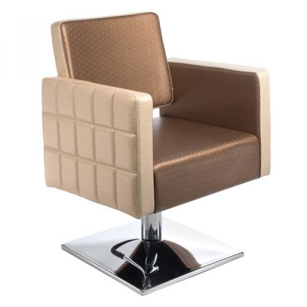 Fotel Fryzjerski Ernesto Brązowo-Kremowy BM-6302 #1