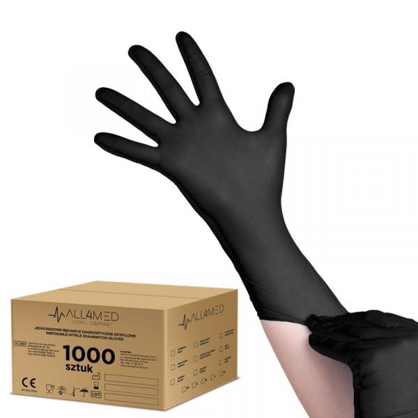 All4med Jednorazowe Rękawice Diagnostyczne Nitrylowe Czarne XS 10 X100szt #1