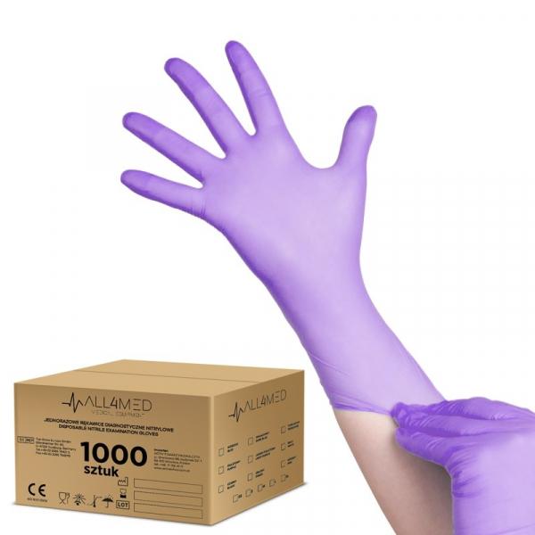 All4med Jednorazowe Rękawice Diagnostyczne Nitrylowe Fioletowe L 10 X100szt #1