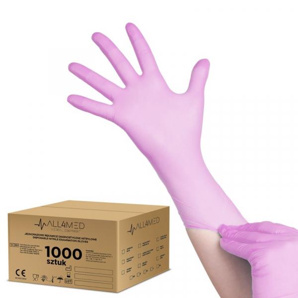 All4med Jednorazowe Rękawice Diagnostyczne Nitrylowe Różowe M 10 X100szt #1