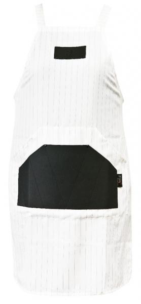 Fartuch Fox Barber Expert Biały - Wąskie, Czarne Pasy #1