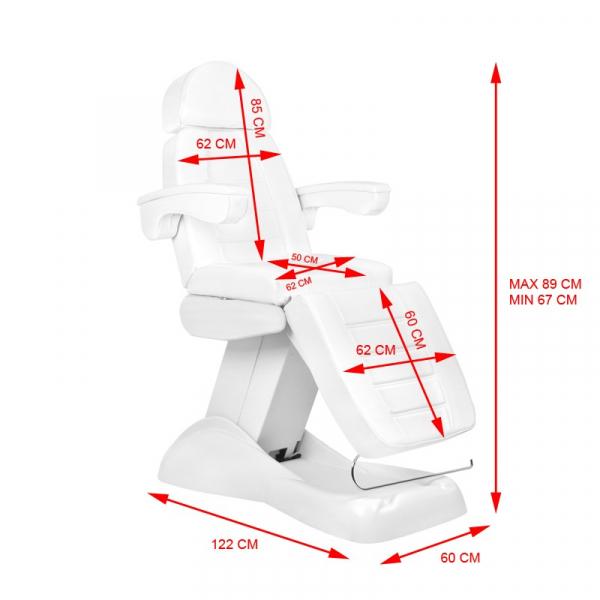 Fotel Kosmetyczny Elektryczny Lux 4m Biały / Buk #11