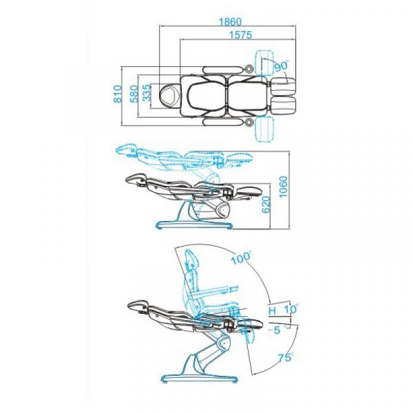 Fotel Kosmetyczny Elektr. Azzurro 870s Pedi 3 Siln. Szary #6