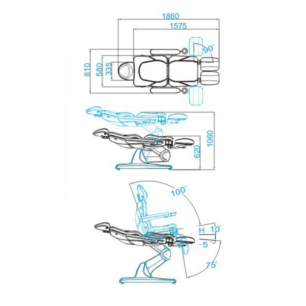 Fotel Kosmetyczny Elektr. Azzurro 870s Pedi 3 Siln. Biały #8