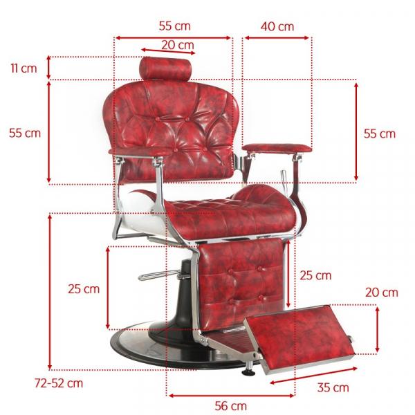Gabbiano Fotel Barberski Premier Czerwony #5