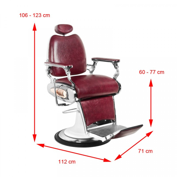 Gabbiano Fotel Barberski Moto Style Bordowy #5