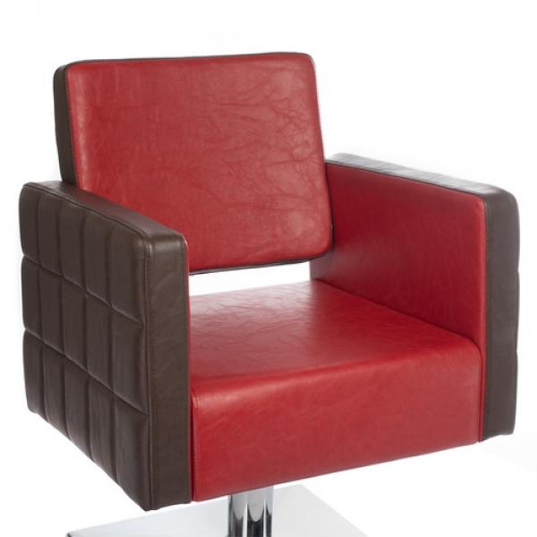 Fotel Fryzjerski Ernesto Czerwono-Brązowy BM-6302 #3