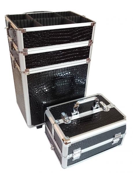 Kufer Kosmetyczny Na Rolkach TC004 Black Croco #3